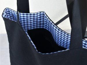 Tote-bag «Vichy Bleu & Noir»