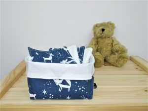 Lot de 10 lingettes bébé «CERF & RENARD» fond bleu